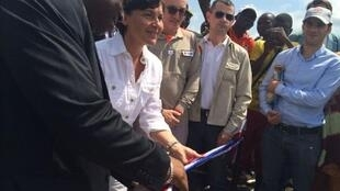 French junior minister Annick Girardin opens an Ebola treatment centre in the Guinea town of  Macenta