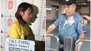 图为外媒刊登中国女子因向菲警泼撒豆花遭刑拘图片