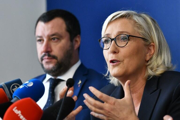 Marine Le Pen junto al ministro del Interior de Italia, Matteo Salvini. Archivo.