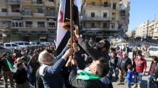 Một cuộc biểu tình của phe đối lập ở Aleppo, chống chính phủ al Assad. Ảnh ngày 07/03/2016.