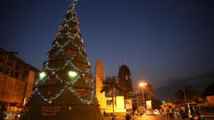 L'arbre de Noël à Kinshasa en République démocratique du Congo.