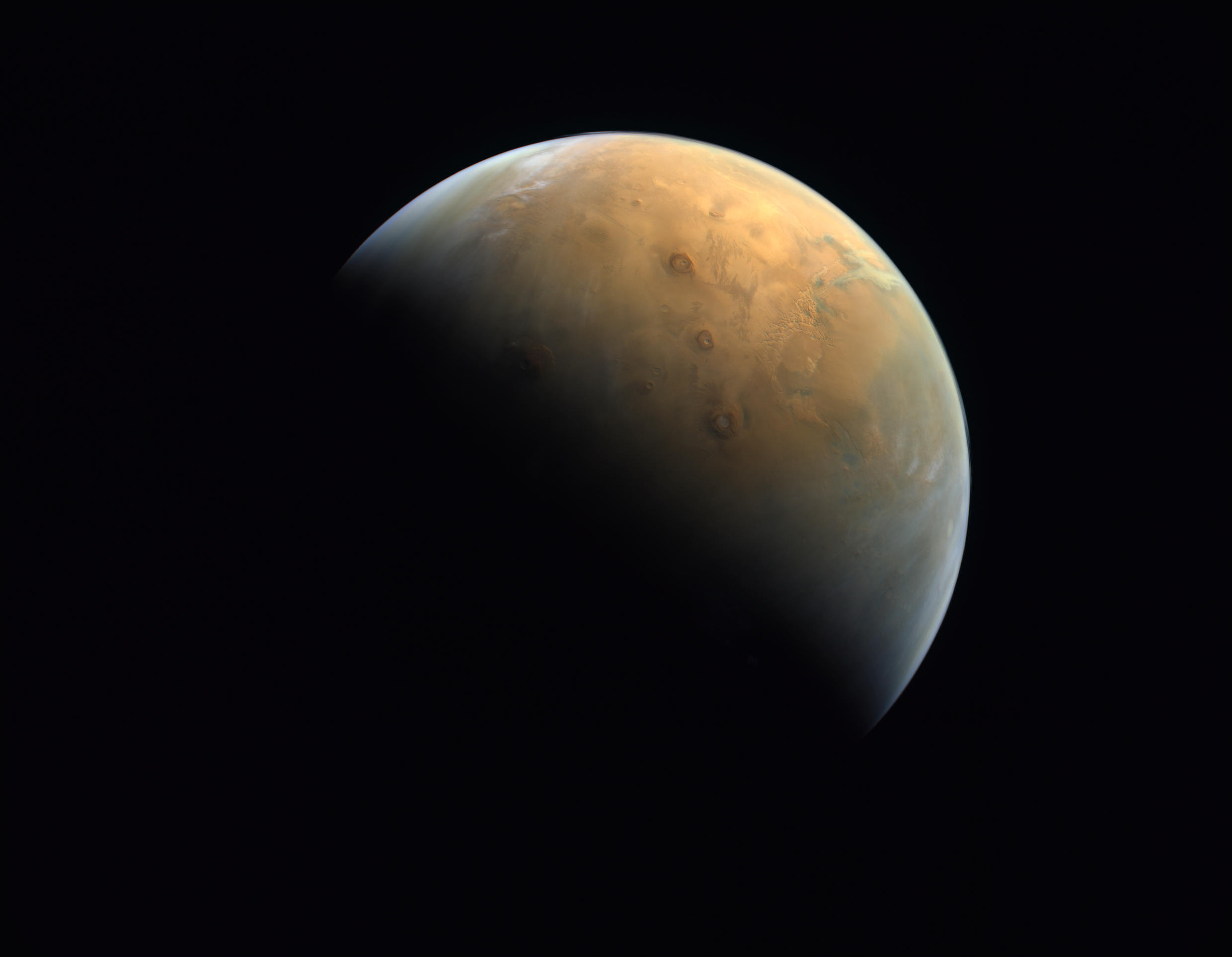 """A handout picture provided by the United Arab Emirates Space Agency (UAESA) taken by the Emirates eXploration Imager (EXI) on board the """"Hope"""" probe"""