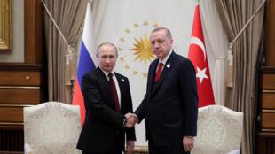 Vladimir Poutine et Recep Tayyip Erdogan à Ankara, le 3 avril 2018.