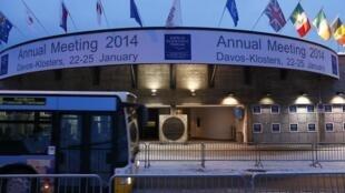 Entrada del Centro de Congresos en el que tendrá lugar el Foro, en Davos.