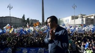 """Italian Interior Minister Matteo Salvini, who has called French leader Emmanuel Macron a """"terrible president"""" in recent days, appears at a rally for his party the League in Rome, 8 December 2018."""