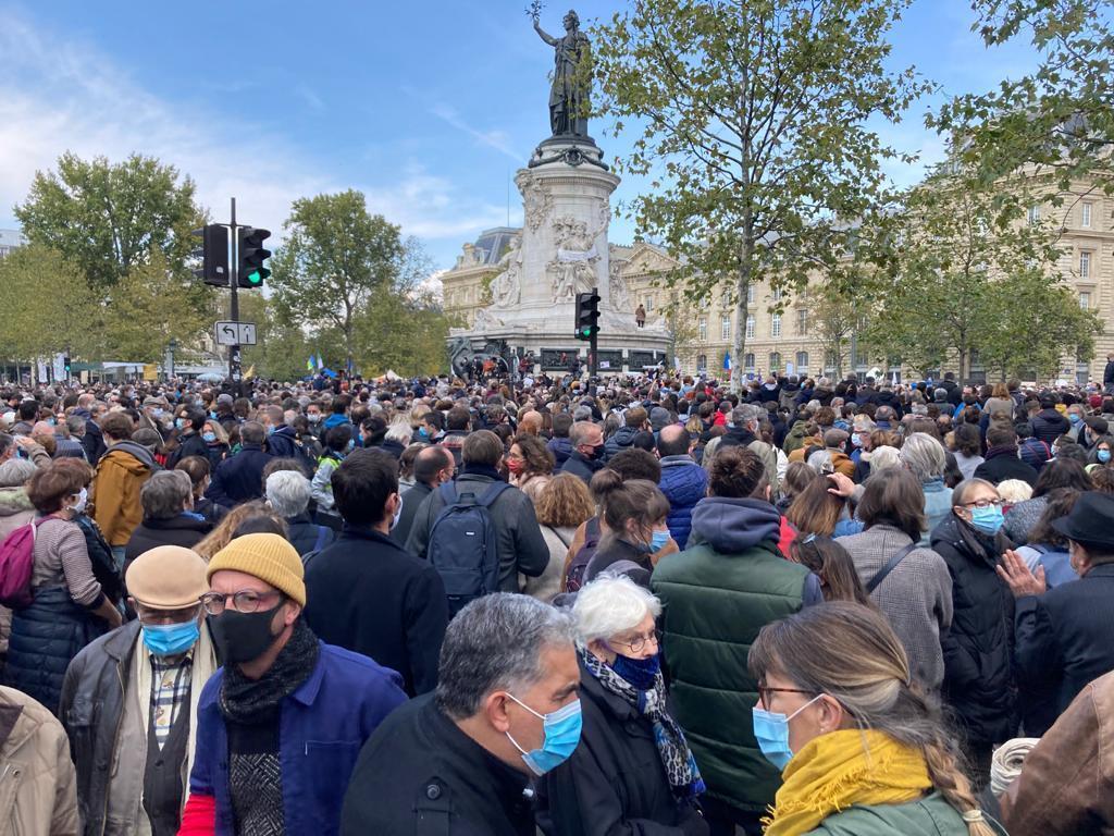 Rassemblement en hommage à Samuel Paty, place de la République à Paris, le 18 octobre.