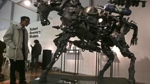 """A sculpture titled """"Trojan Horse"""" by South African artist Willie Bester at the India Art Fair in New Delhi"""
