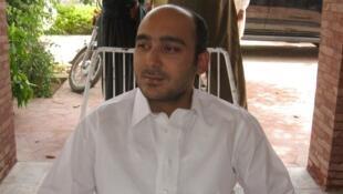 Ali Haider Gilani lors d'un meeting a Multan, au Pakistan, le 9 mai 2013, peu avant son enlèvement.