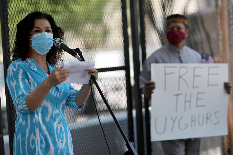 Manifestation devant la Maison Blanche à Washington, le 3 juillet 2020, pour dénoncer le traitement de la minorité ouïghoure par Pékin.