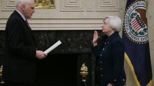 周一宣誓就職的美聯儲主席耶倫女士