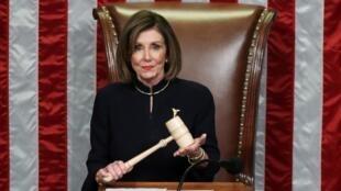 Chủ tịch Hạ Viện Nancy Pelosi tại Quốc Hội Mỹ, Washington. Ảnh chụp ngày 18/12/2019.