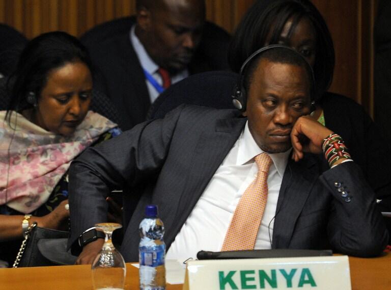 Le président kényan Uhuru Kenyatta au Conseil paix et sécurité de l'UA sur le Burundi, à Addis-Abeba, le 29 janvier 2016.