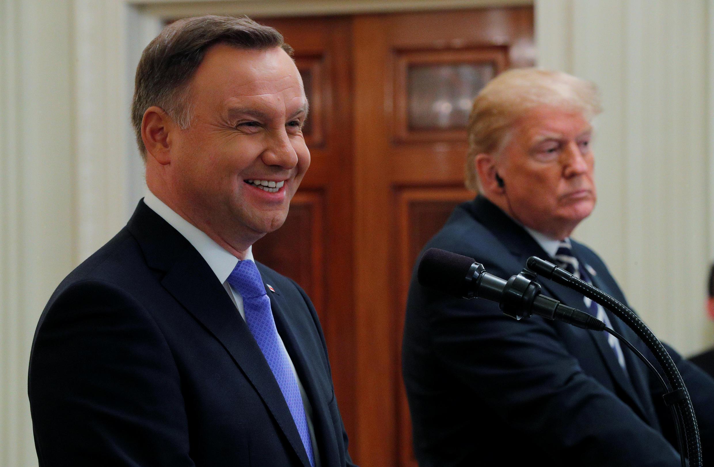 Tổng thống Ba Lan Andrzej Duda họp báo chung với tổng thống Mỹ Donald Trump ngày 18/09/2018.