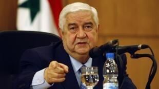 Глава МИД Сирии Валид аль-Муаллем на пресс-конференции в Дамаске 24/01/2012
