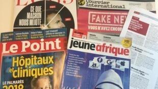 Capas de semanários sobre actualidade africana e mundial de 25/08/2018