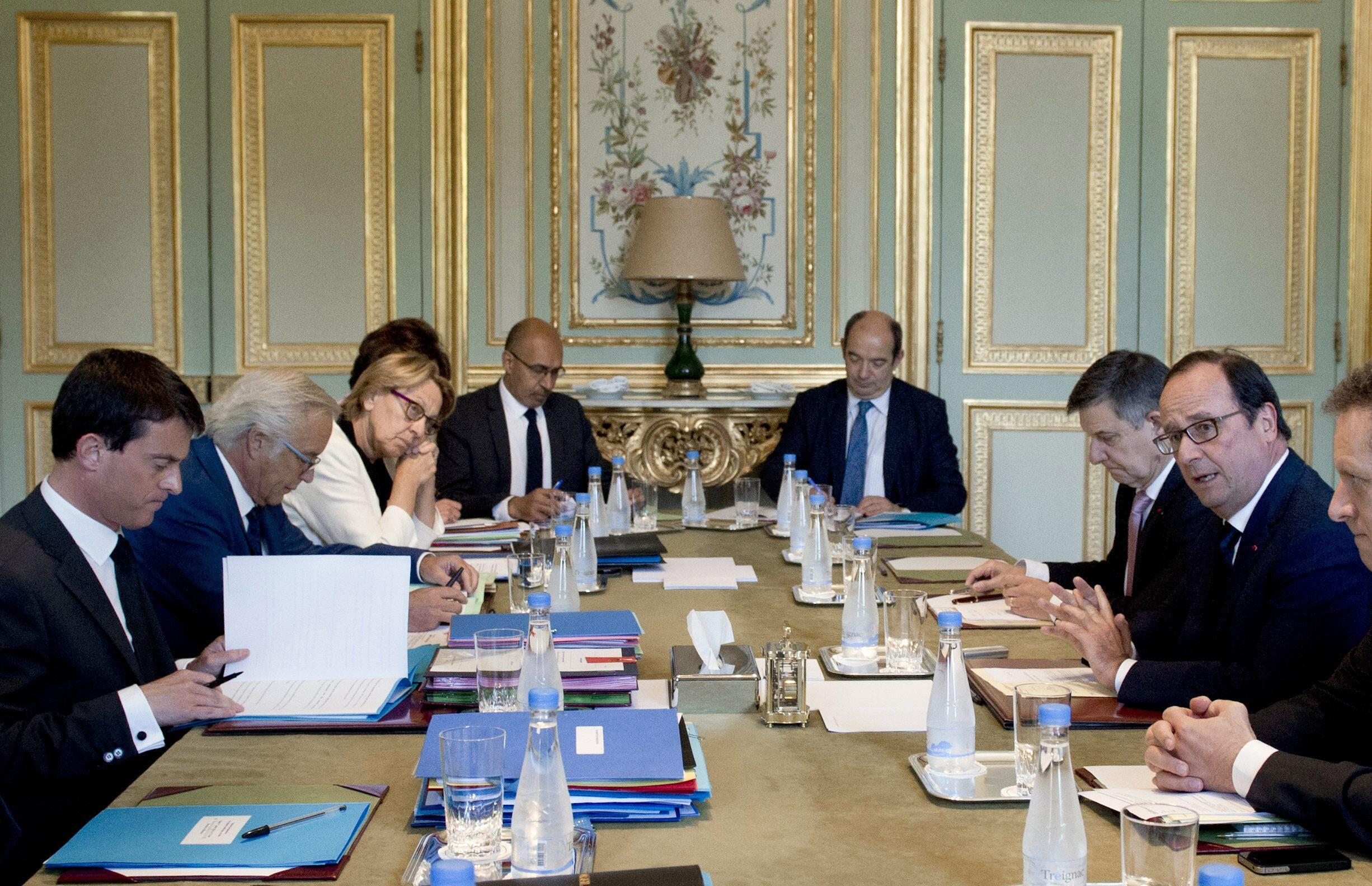 French Prime minister Manuel Valls, in a ministerial meeting to prepare the Social Summit in Paris July 2, 2014.