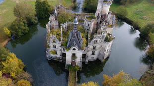 The ruined castle of La Mothe-Chandeniers in Les Trois-Moutiers, central western France