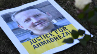 A flyer picturing Ahmadreza Djalali, an Iranian academic detained in Tehran and reportedly sentenced to death for espionage, is seen in February 2017 during a protest in his support outside the Iranian embassy in Brussels