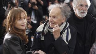 """Isabelle Huppert, Jean-Louis Trintignant et Michael Haneke lors de la présentation du film """"Amour"""" au Festival de Cannes."""