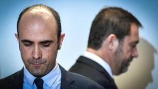 Le ministre français de l'Intérieur, Christophe Castaner, et le nouveau chef de la DGSI, Nicolas Lerner, le 5 novembre 2018 au siège de la DGSI à Levallois-Perret.