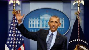 图为美国卸任总统奥巴马最后一次在白宫举行新闻发布会  2017年1月19日