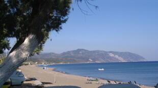 La plage de Vatera sur l'ile grecque de Lesbos.