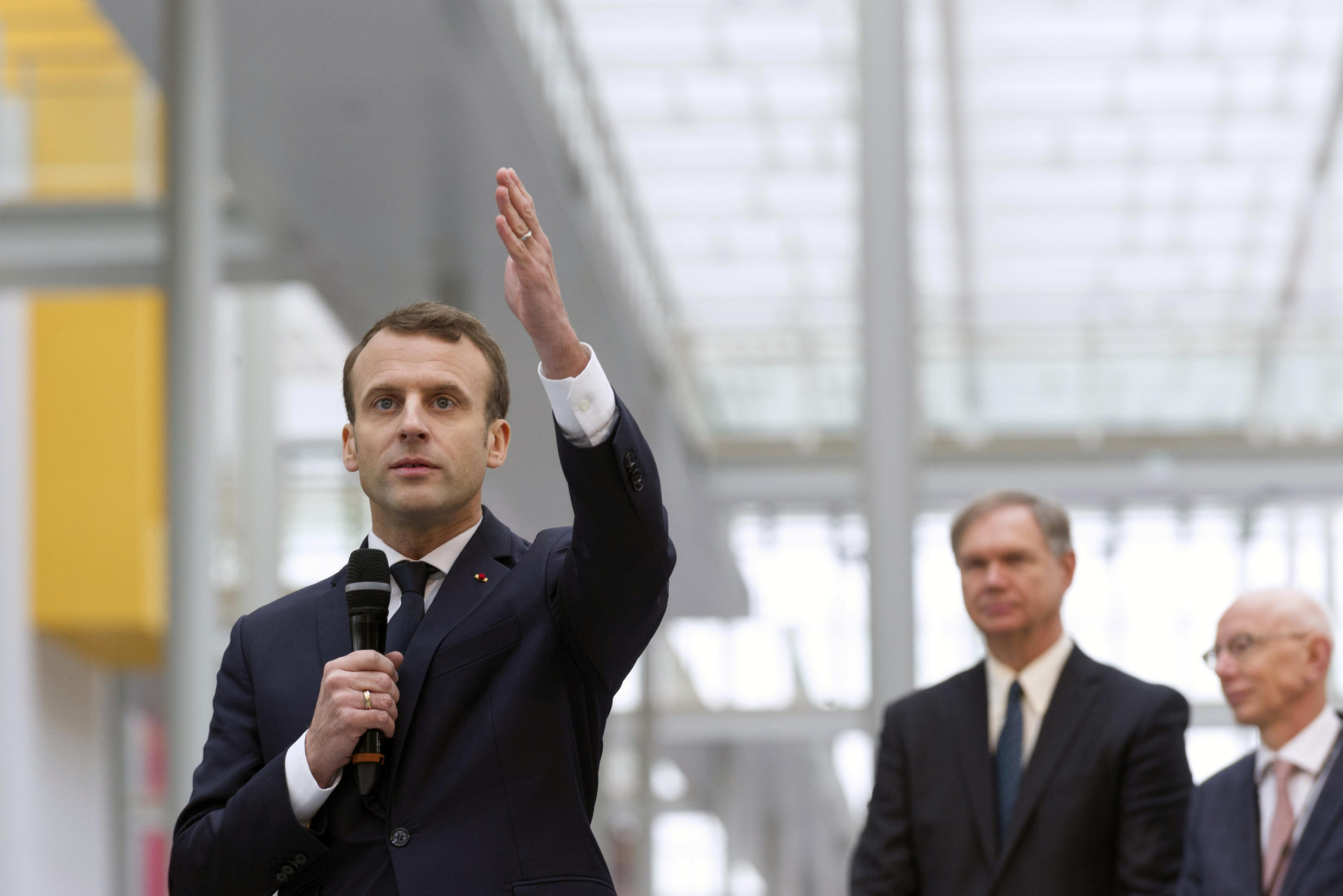 French President Emmanuel Macron visits the Michelin Ladoux Research and Technology centre on 25 January