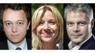 Maël de Calan (à gauche), Florence Portelli et Laurent Wauquiez, candidats à la présidence du parti Les Républicains.