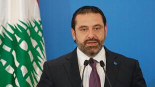 Le Premier ministre libanais Saad Hariri pendant sa conférence de presse, ce lundi 7 mai, au lendemain du scrutin des législatives.