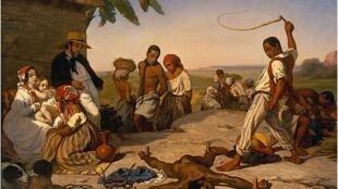 O quadro do pintor francês Marcel Verdier foi rejeitado pelo Salão do Louvre de 1843 por denunciar abertamente a escravidão.