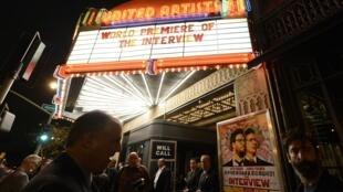 """Segurança reforçada na estreia mundial do filme """"A Entrevista"""", em Los Angeles (11/12/14)."""