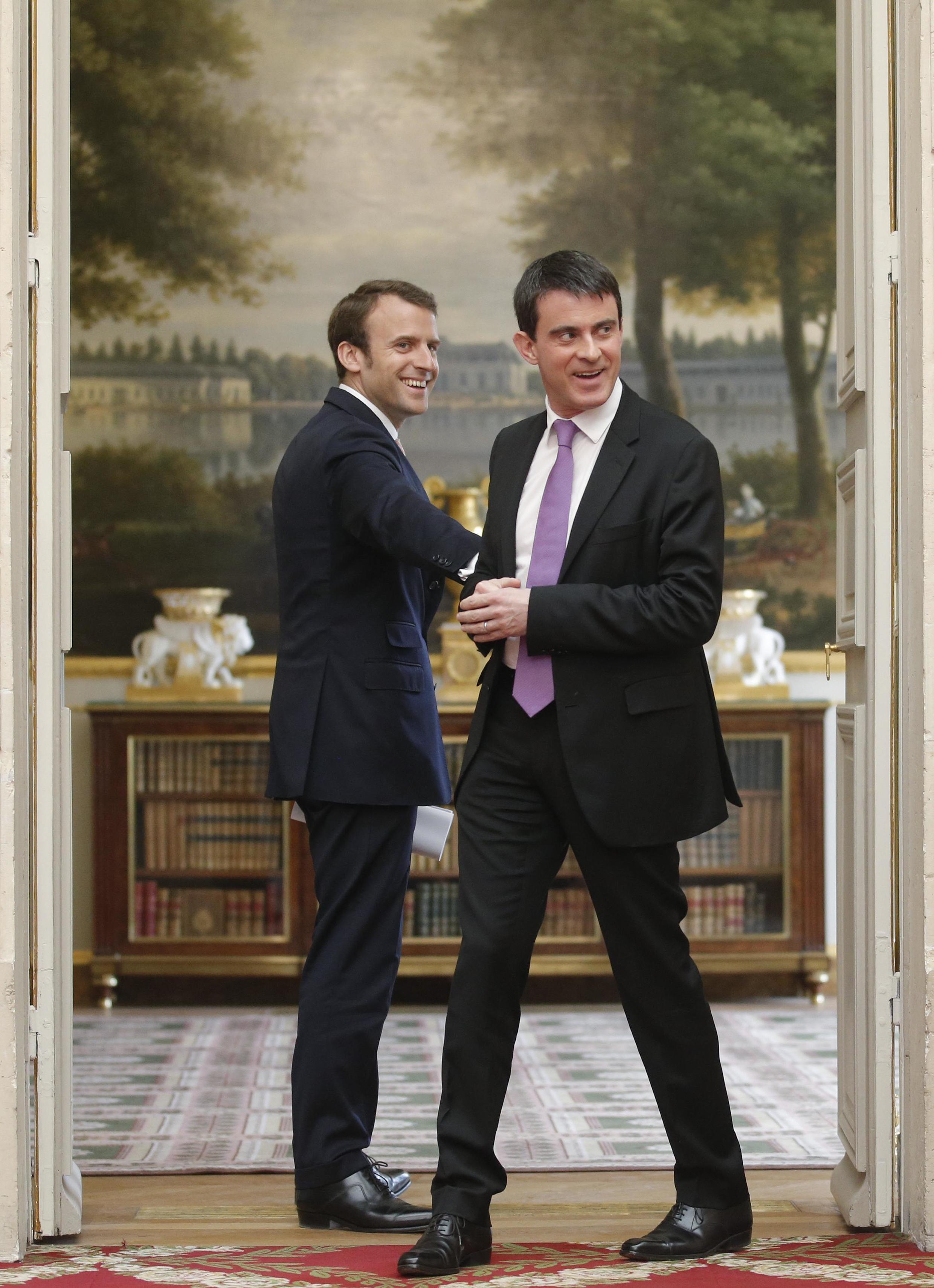 Le nouveau ministre de l'Economie Emanuel Macron et Manuel Valls, Premier ministre, ici en mai dernier à l'Elysée.