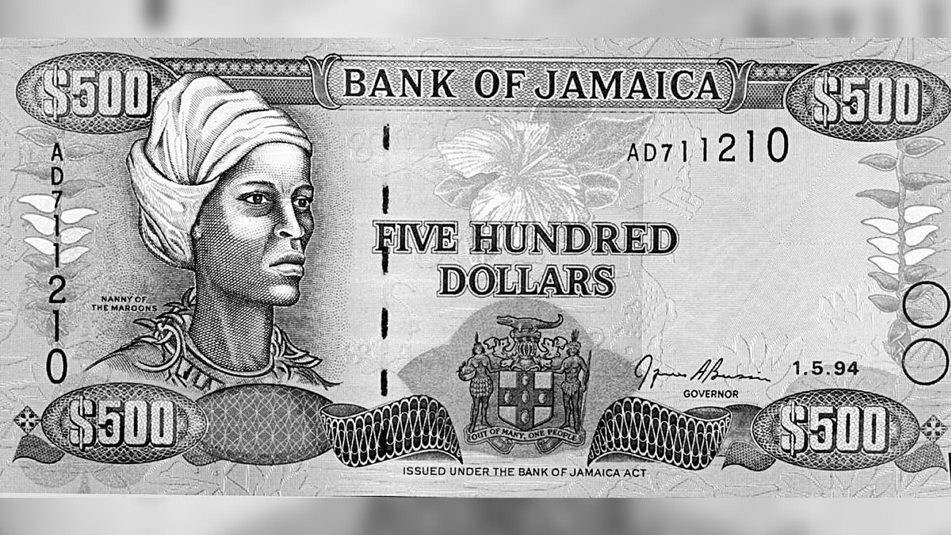 Un billet de 500 dollars jamaïcains à l'effigie de Nanny des Marrons.