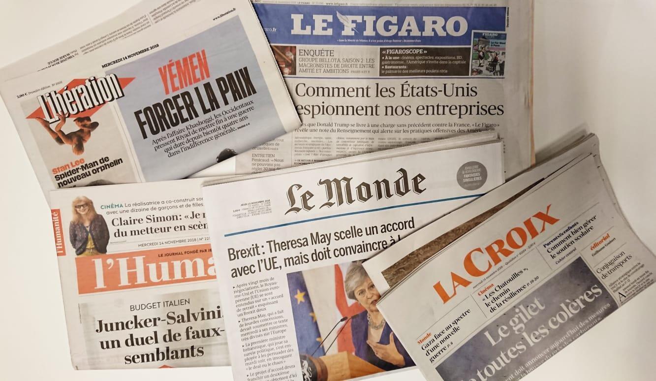 Primeiras páginas dos jornais franceses de 14 de novembro de 2018