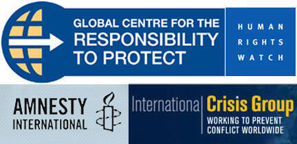 Logos de Amnesty International, Human Rights Watch, International Crisis Group, Global Center for Responsibility to Protect