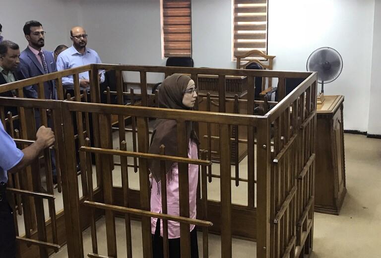 Une jihadiste française, lors de son procès à la Cour pénale de Bagdad, le 17 avril 2018.