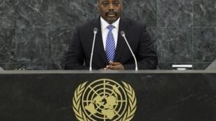 Le président congolais Joseph Kabila devant l'Assemblée générale des Nations unies, le 25 septembre 2013.