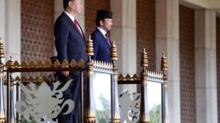 Chủ tịch TQ Tập Cận Bình (trái) và quốc vương Brunei Hassanal Bolkiah tại cung điện Nurul Iman. Ảnh ngày 19/11/2018.