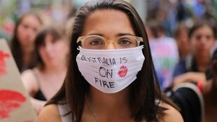 Dozens of students took part in protests outside the Sydney offices of Australia's governing Liberal party.
