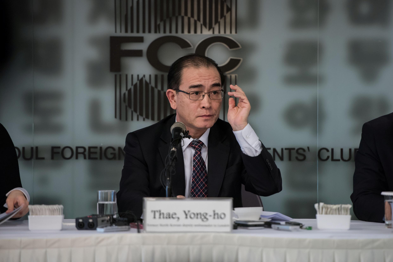 Ảnh tư liệu: Cựu phó đại sứ Bắc Triều Tiên tại Anh Quốc Thae Yong Ho nói chuyện ở Câu Lạc Bộ Báo Chí Ngoại Quốc tại Seoul (Hàn Quốc) ngày 25/01/2017.