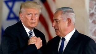 美國總統特朗普與以色列總理內塔尼亞胡資料圖片