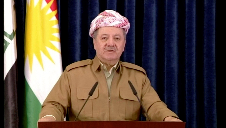 Kurdish President Massud Barzani announces his departure on Kurdish TV