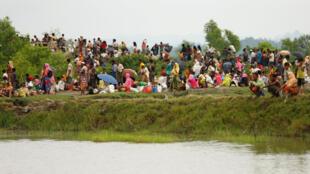 مسلمانان روهینگیا در انتظار عبور از رودخانه برای ورود به خاک بنگلادش