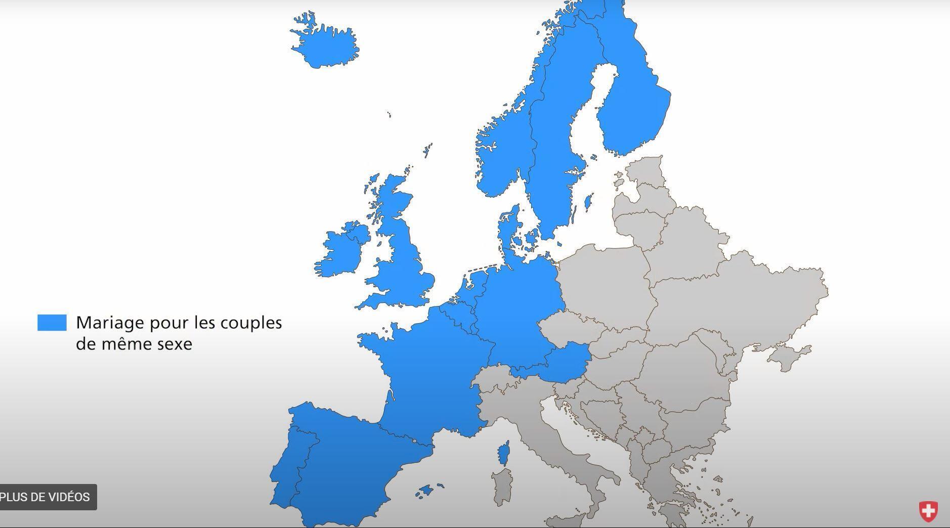 瑞士政府在本次公投官网上的视觉图,图为欧洲已将同性婚姻合法化的国家(蓝色部分)。