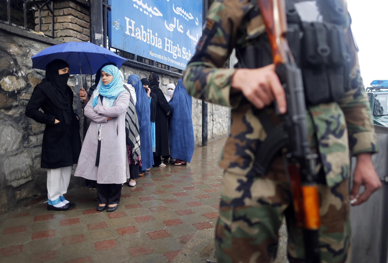 Kaboul, le 5 avril 2014. Sécurité maximale le jour du scrutin présidentiel en Afghanistan.