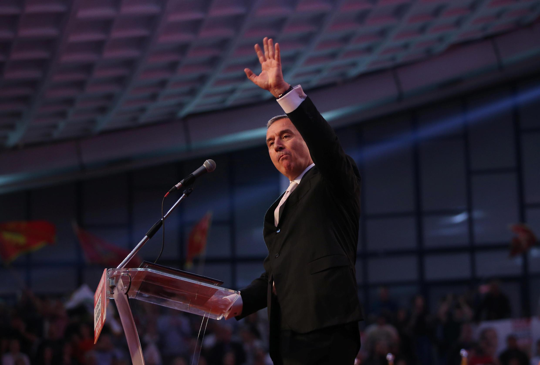 Milo Djukanovic, candidat à l'élection présidentielle du Monténégro, le 12 avril 2018 lors d'un meeting à Podgorica.