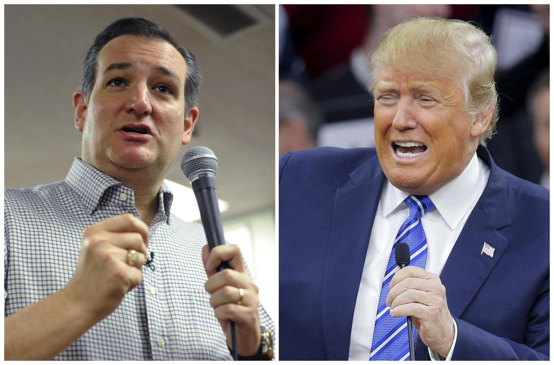 Ted Cruz et Donald Trump, le 4 janvier 2016 dans l'Iowa.