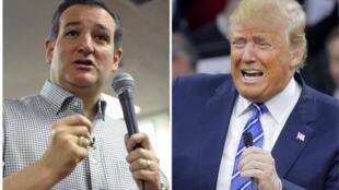 Ted Cruz y Donald Trump en Iowa durante el mes de enero