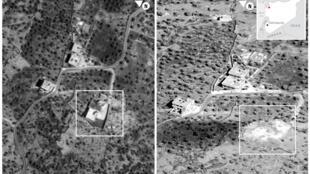 در تصاویر فوق، در تصویر سمت چپ، محل مخفیگاه ابوبکر البغدادی پیش از حمله و در تصویر سمت راست، پس از حمل و ویرانی دیده میشود.