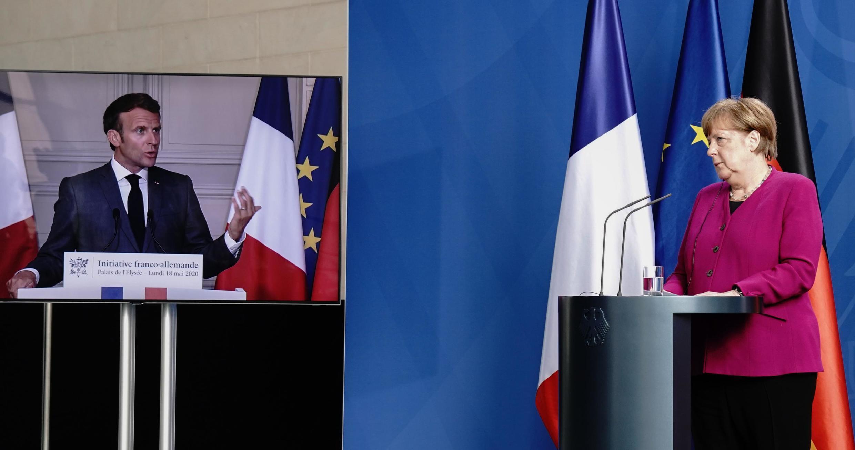 Hội đàm qua vidéo hội nghị giữa tổng thống Pháp Emmanuel Macron (T) và thủ tướng Đức Angela Merkel, ngày 18/05/2020.